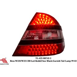 MERCEDES BENZ W220 S-Class 1999 - 2005 EAGLE EYES Red/ Smoke Double LED Crystal Tail Lamp [TL-025-BENZ]