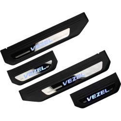 HONDA VEZEL OEM Plug & Play Stainless Steel Blue LED Car Door Side Sill Garnish Scruff Step Plate