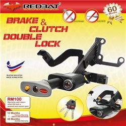 (MOST CARS) REDBAT 4 in 1 Double Brake Pedal Lock with Plug and Play Socket & Immobilizer