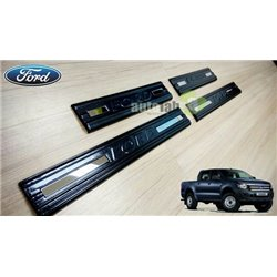 FORD RANGER T6 2011 - 2015 Carbon Fiber Car Door Step Side Sill Scuff Plate (AL)