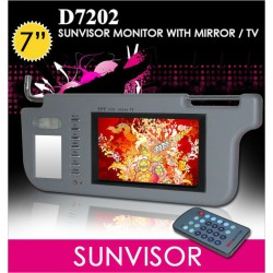 "7"" Sunvisor TFT Monitor w/ Mirror & TV Tuner [D7202] Made In Taiwan"